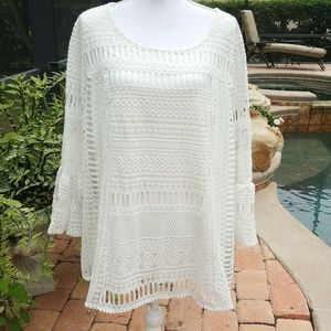 AlfaniWhite  Crochet  Bell Sleeve Lace Trim Tunic